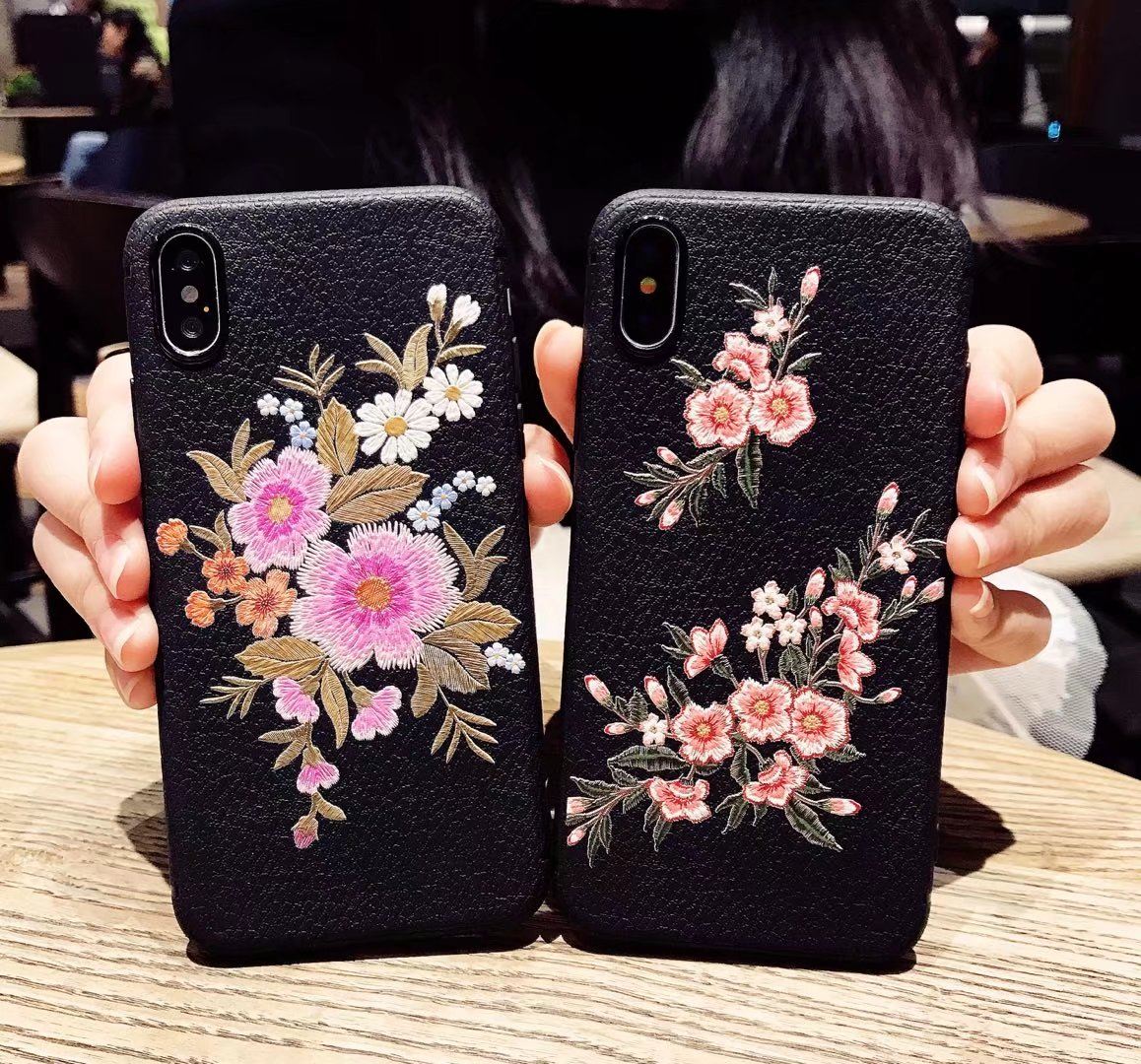 YIGEK For IPHONE Phone Cases.cover Case for Iphone X876S6 Plus CaseChinese style embroidery soft shell Brilliant flowers, .