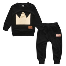 2pcs/set Autumn  baby boy pull over long sleeves O-Neck cotton printing Imperial crown Child clothing set ropa de bebe