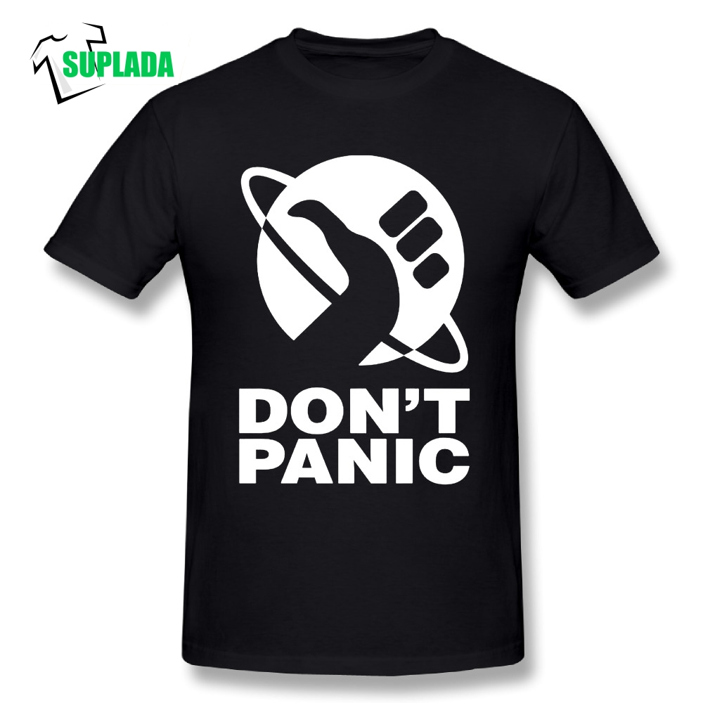 The Hitchhikers Guide To The Galaxy Men T Shirt Dont Panic 100% Cotton Travel Tees 5XL Round Neck T-Shirts Short Sleeves DTG