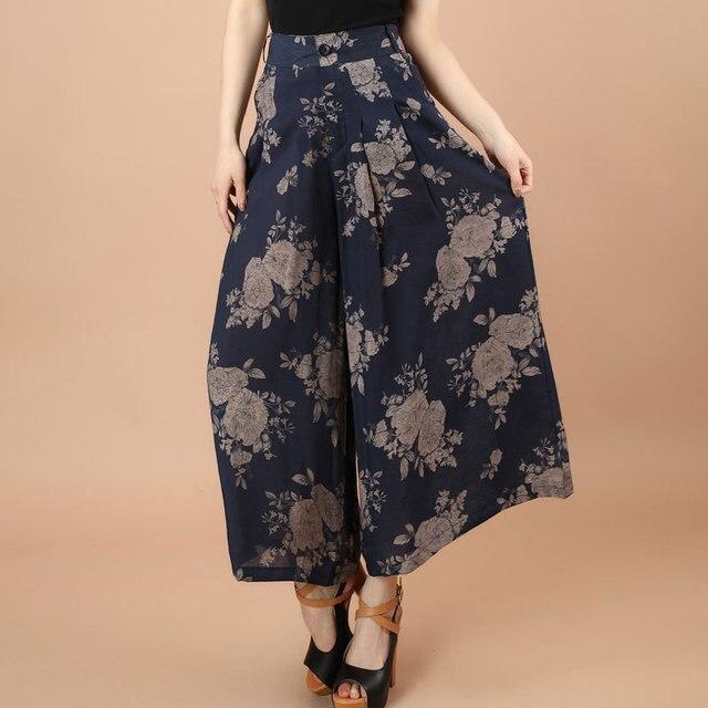 991a4e4f80e Large jambe lâche coton lin robe Pantalon femme été coton fleur imprimer grande  taille danse robe