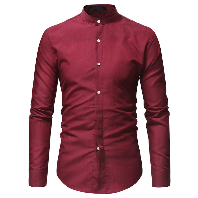Long Sleeve Shirt Men 39 s Fashion Contrast Stand Collars Bezel Long Sleeve Shirt Men 39 s Classic Casual Slim Solid Color Shirt in Casual Shirts from Men 39 s Clothing