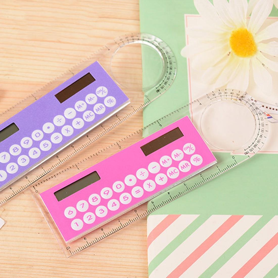 US $1 13 19% OFF|NOYOKERE Solar Mini Calculator Magnifier Multifunction  10cm Ultra thin Ruler Calculadora Office Supplies Random Color-in  Calculators