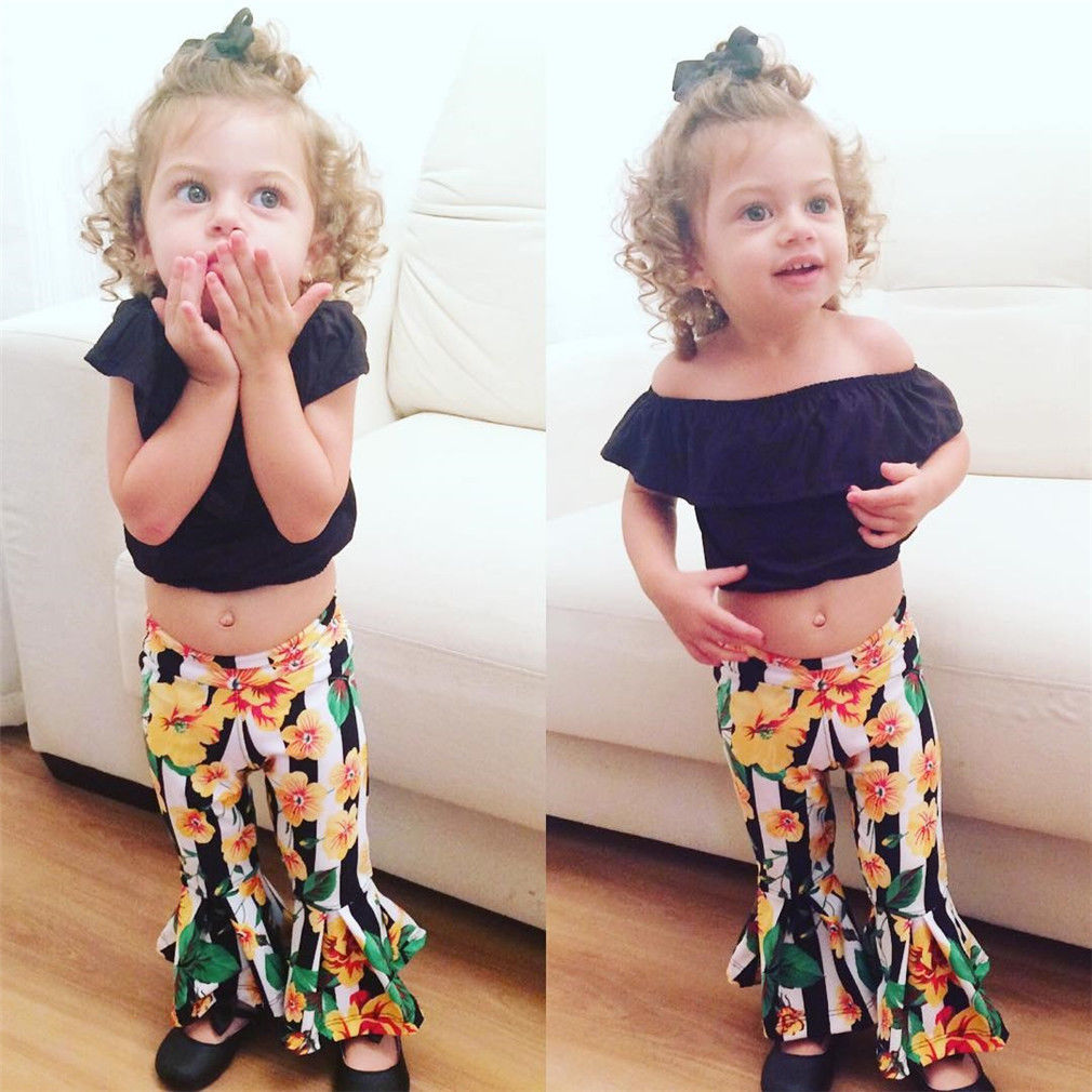 1273c150d83875 2PCS Set Fashion Toddler Kids Girl Off shoulder Crop Tops Striped Floral  Bell bottom Flared Pant Trouser Outfit Clothing Set-in Clothing Sets from  Mother ...