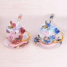 Европейский стиль Красочный стеклянный Кубок Роза эмаль аппликация Хрустальная чашка чайная чашка Свадебная чашка креативный свадебный подарок домашняя Питьевая Посуда