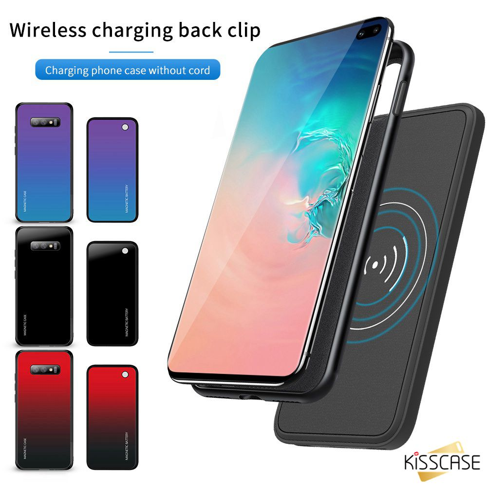 KISSCASE Portable wireless Power Bank charger Case For Samsung S8 S9 Plus Battery Case For Samsung Galaxy S10 Plus S10e Note 8 9