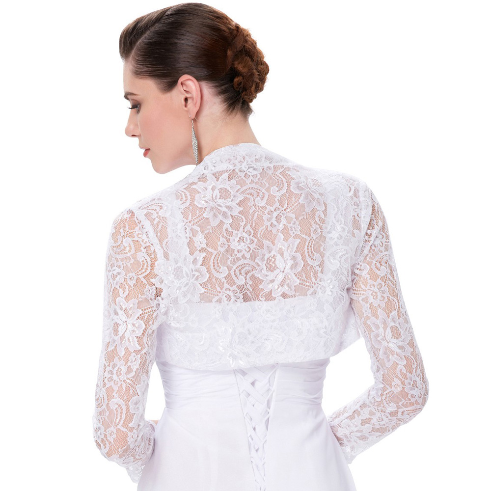 Elegant Long Sleeve Lace Bridal Bolero Jacket Evening