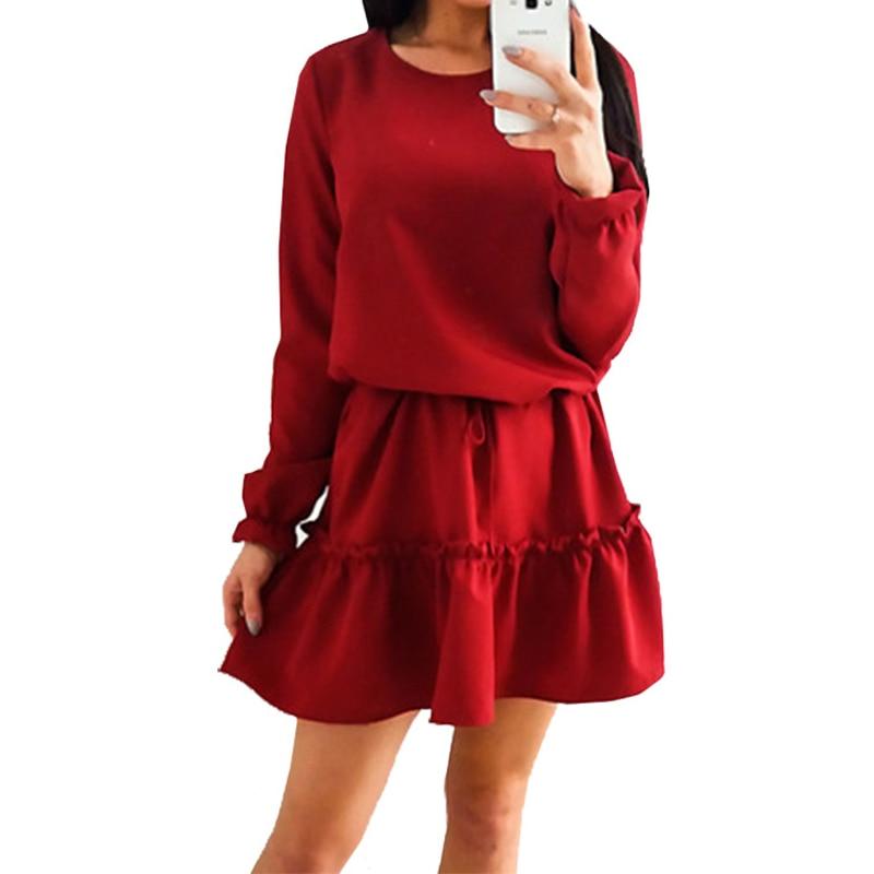Women Dresses Long Lantern Sleeve O-Neck Lace Up Defined Waist Mini Loose Casual Dresses High Quality Dresses Women WS4560P