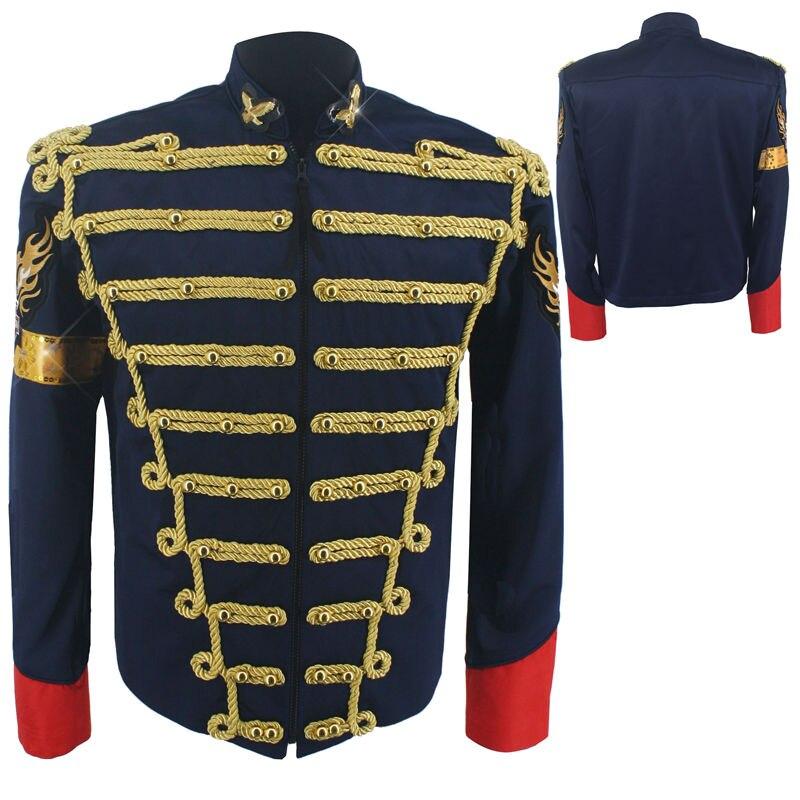Rare Fashion Retro Punk MJ Michael Jackson Dark Blue Military Army Royal Retro England Style Men's Threading Jacket 1980S