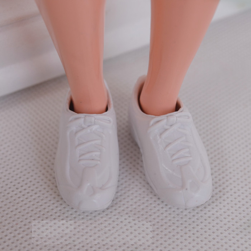 2 Pairs of Ken Doll Shoes White Tennis Shoes and Black Loafers