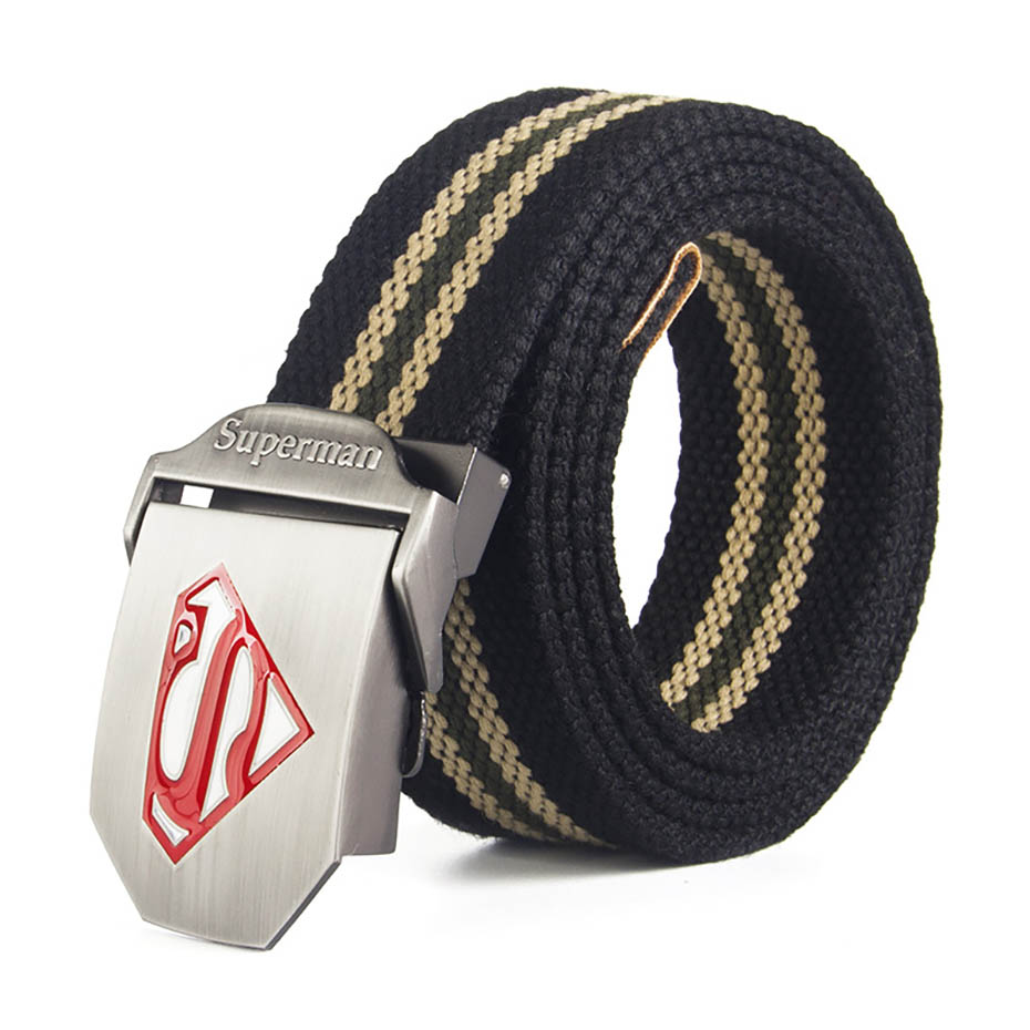 Male   Belt   Superman Buckle High Quality Designer Brand   Belt   For Men Casual Style Tactical   Belt   For Jeans 120cm
