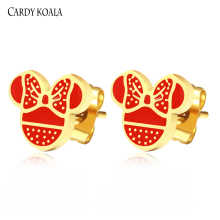 Cardy Koala Women Girls Classic Mickey Earrings Vacuum Gold/Silver Fashion Jewelry Stainless Steel Stud
