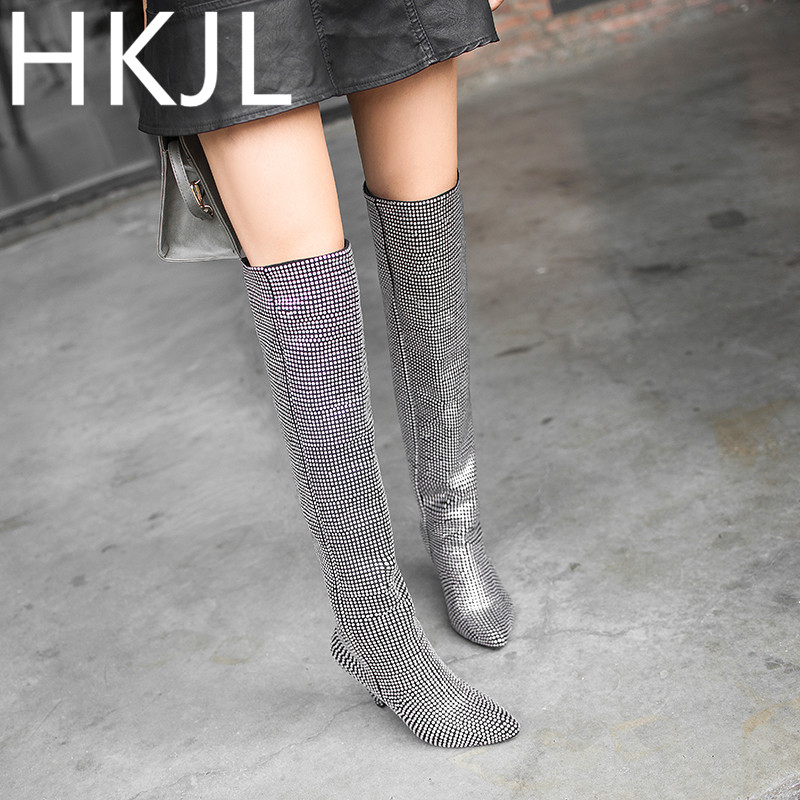 HKJL 2019 winter Shoes woman high heel Boots women long pointed boots full tube rhinestone fashion Women\x27s Z035