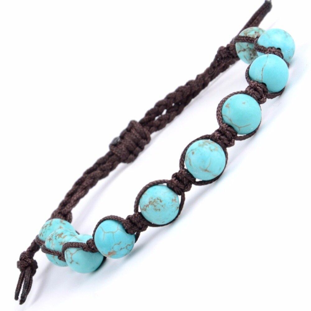 טבעי אבן צמיד גברים טורקיז חרוזים Boho חבל קלוע צמידי צמידים לנשים עבודת יד Weave תכשיטים