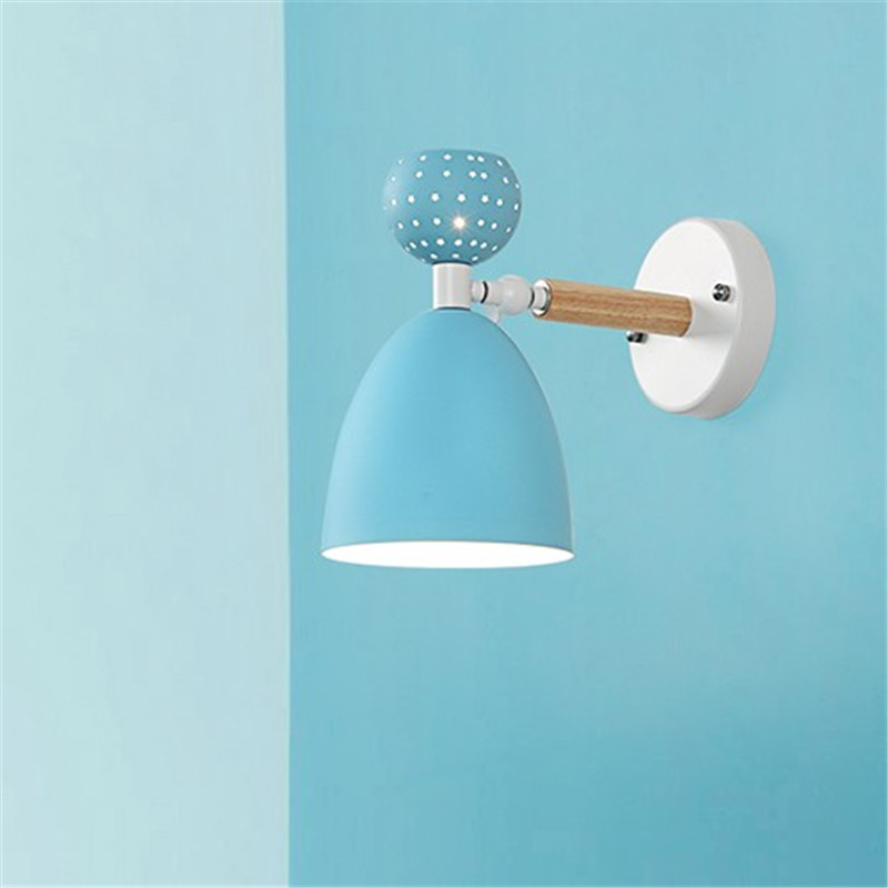 Simple Loft Style Wood Iron Wall Sconce Modern LED Wall Light Fixtures Bedroom Rotate Bedside Wall Lamp Indoor Lighting in LED Indoor Wall Lamps from Lights Lighting