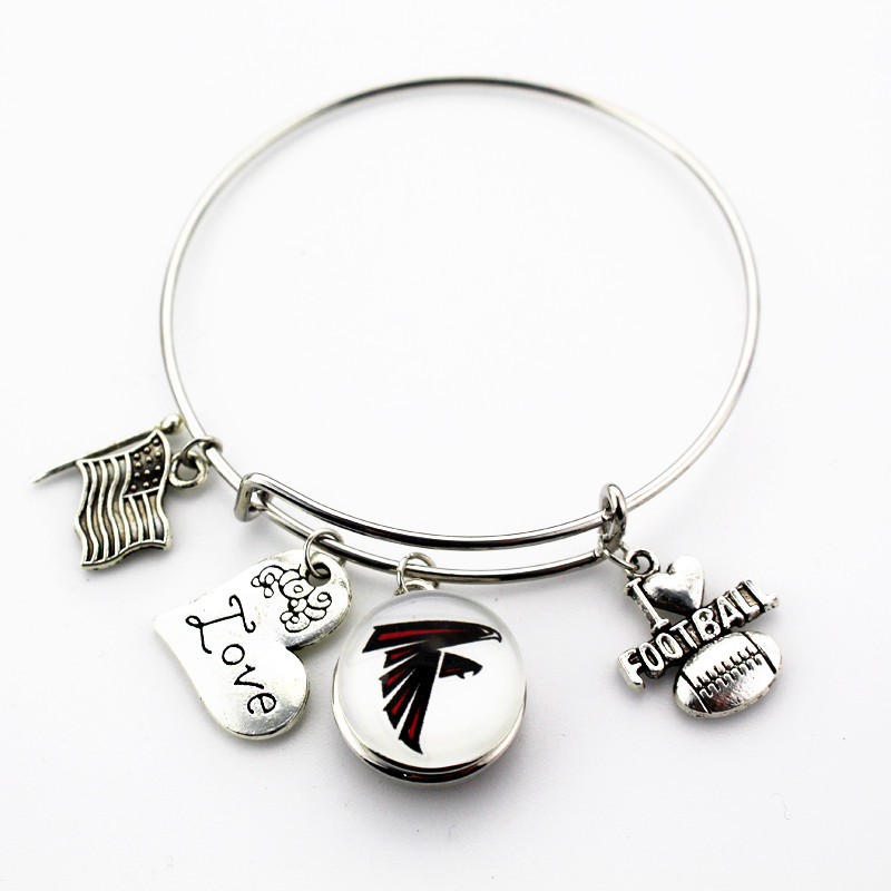 Wholesale 6pcs/lot I Love Football Atlanta Falcons Sports Team Snap Bracelet Fit Sport Fans Adjustable Bracelet&Bangle Jewlery