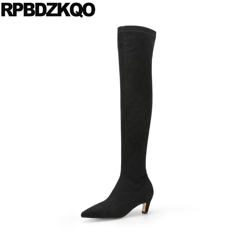 Luxury Genuine Leather Pointed Toe Winter Thigh High Shoes Over The Knee Fall Stretch Suede Slim Women Boots Sexy Stiletto LongLuxury Genuine Leather Pointed Toe Winter Thigh High Shoes Over The Knee Fall Stretch Suede Slim Women Boots Sexy Stiletto Long