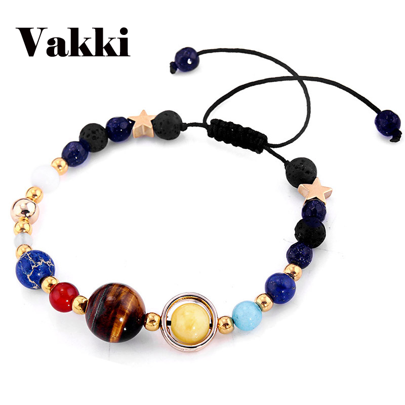 Hot Sell Universe Galaxy the Eight Planets Solar System Guardian Star Women Man Natural Stone Beads Bracelet Adjustable Length