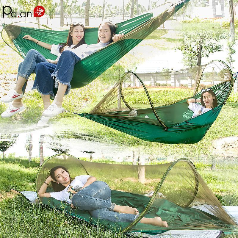 Portable Double Hammock Mosquito Net Parachute Outdoor Tent Swing Chair Hammocks Upgrade Multi purpose Colors Random Send in Hammocks from Furniture