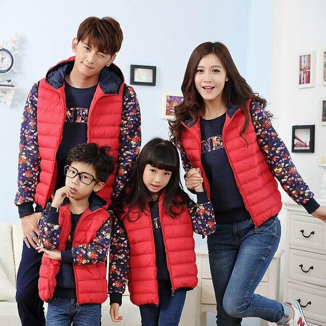 Осень и зима 2017 зима случайный жилет семья посмотрите clothing мать и дочь сын отца мальчик девочка детская одежда
