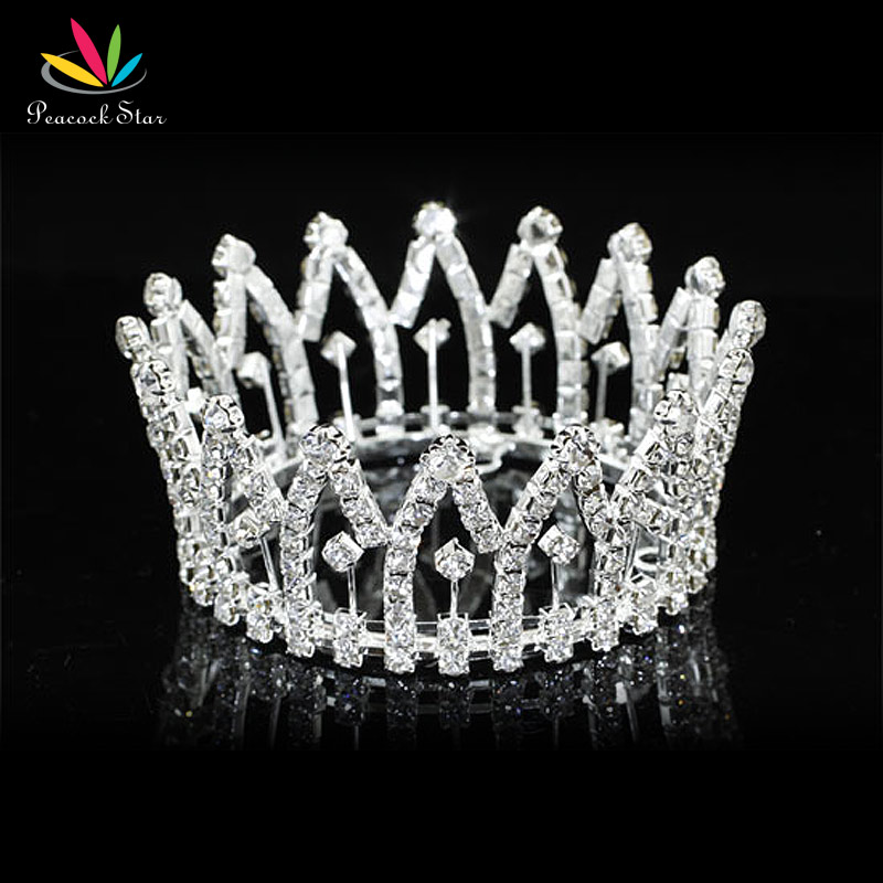 Peacock Star New Born Baby Mini Crown for Sale Full Circle Round Tiara CT1815