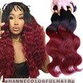 99j ombre brasileño de la virgen del pelo onda del cuerpo rojo pelo de la virgen 3 unids negro y burdeos armadura brasileña ombre burdeos brasileño pelo