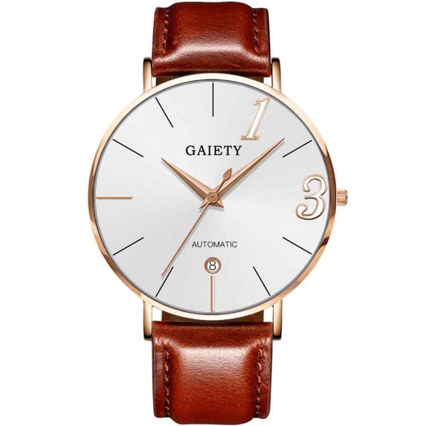 Fashion Watch Men Leather Strap Line Analog Luxury Clock Quartz Ladies Wrist Watches Gentleman Gift Relogio Masculino De luxo