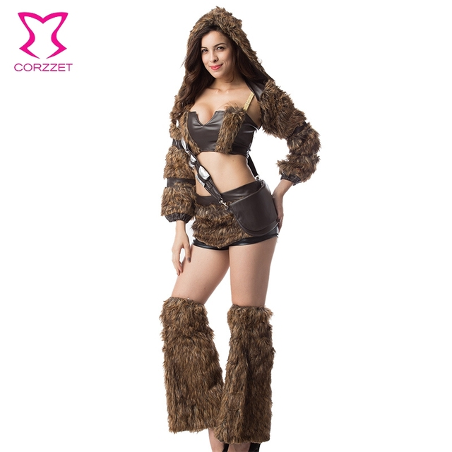Faux Furry Cosplay Costume Set Brown Steampunk Costume Burlesque ...