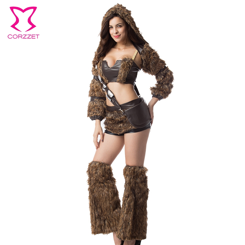 Faux Furry Cosplay Costume Set Brown Steampunk Costume Burlesque Outfits  Disfraces Adultos Carnival Halloween Costumes For - Popular Halloween Burlesque Costumes-Buy Cheap Halloween Burlesque