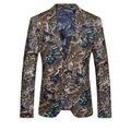 Trajes extravagantes Para Homens 2017 Mens Floral Blazer Slim Fit Blazer Masculino Terno Jaqueta Casual Padrão Impresso Elegante Do Partido do baile de Finalistas Q95