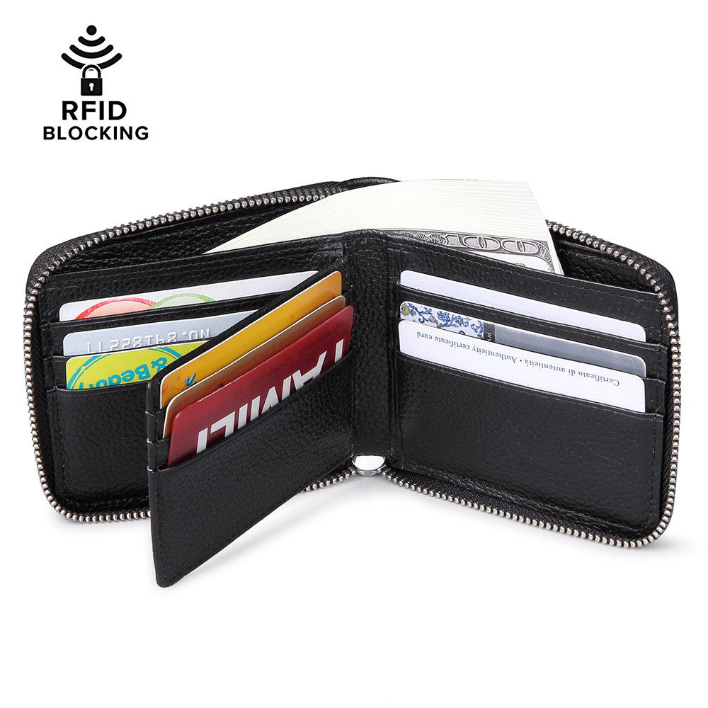 Mens Gents Real Genuine Leather Secure Zip Round Card Coin Note Wallet in Black