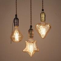 Diamond Heart Star Vintage Industrial Aluminum Beautiful Glass Edison Bulb Ceiling Pendant Lamp Cafe Bar Club Coffee Shop