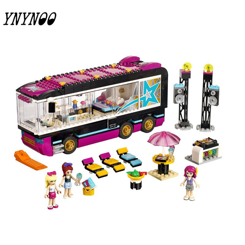 (YNYNOO)10407 Friends Pop Star Tour Bus Blocks Bricks Toys Girl Game House Gift Compatible with 10162 friends city park cafe building blocks bricks toys girl game toys for children house gift compatible with lego gift