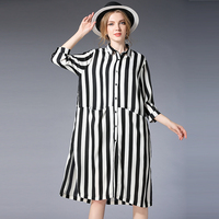 plus size women Loose casual shirts three quarter sleeve oversize striped chiffon shirt Womens tops and blouses new XL to 4XL