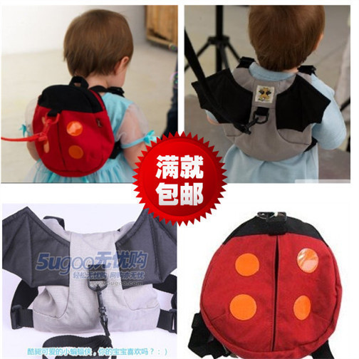 Lovely carton baby Spring summer baby cartoon bat Ladybug anti lost bag toddler belt anti lost children backpack small bag