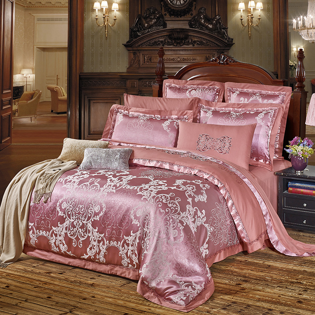Europe Noble Luxury Bedding Set Jacquard Silk Cotton Bed Sheets Duvet Cover  Pillowcase King Queen Size Set Purple Grapes