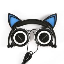 Кот уха наушников mindkoo свет наушники гарнитура с свет gaming наушники Музыка наушников для IPhone Xiaomi Huawei PC