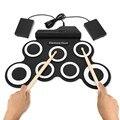 Batería Electrónica portátil Midi Digital USB 7 almohadillas rollo de tambor de silicona Kit de almohadilla de tambor eléctrico con Pedal de pie WJ126