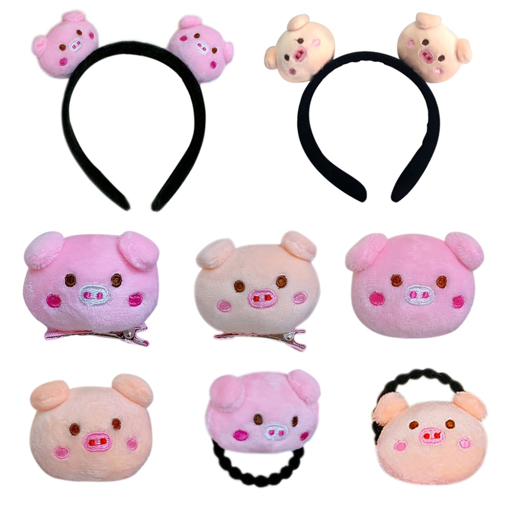 Cute Cartoon Pink Animal Children Adult Fluffy Plush Doll Toy Decor Hair Clip Brooch Embroidered Rope Ponytail Holder Headband