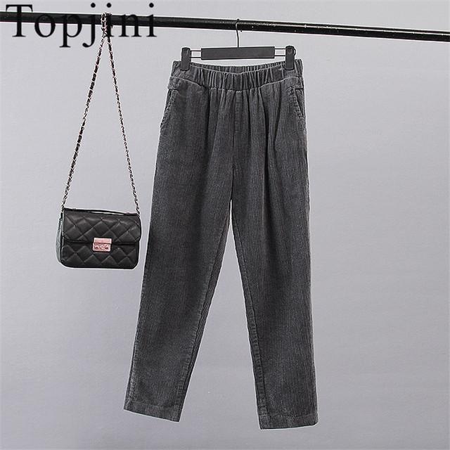 Novo 2017 Topjini mulheres Algodão Casual Corpo Inteiro Calças de Veludo Soltas Elástico Da Cintura Meados mulheres Harem Pant Sólidos das mulheres calças