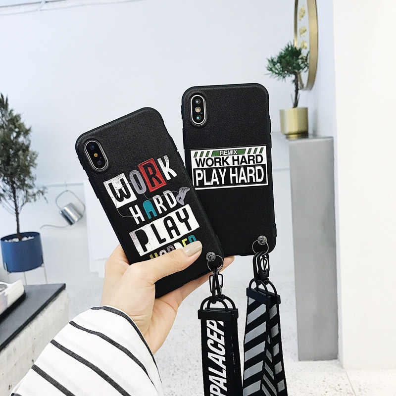 best website 300c5 31c52 Grid Relief Work Hard Play Harder Print Phone Fundas Case For iphone X 6 6s  7 8 Plus XS Max XR Cover with Hand Strap Lanyard
