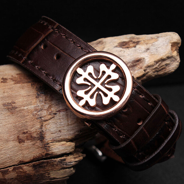 High quality genuine leather strap for PP watch with stainless steel deploy clas