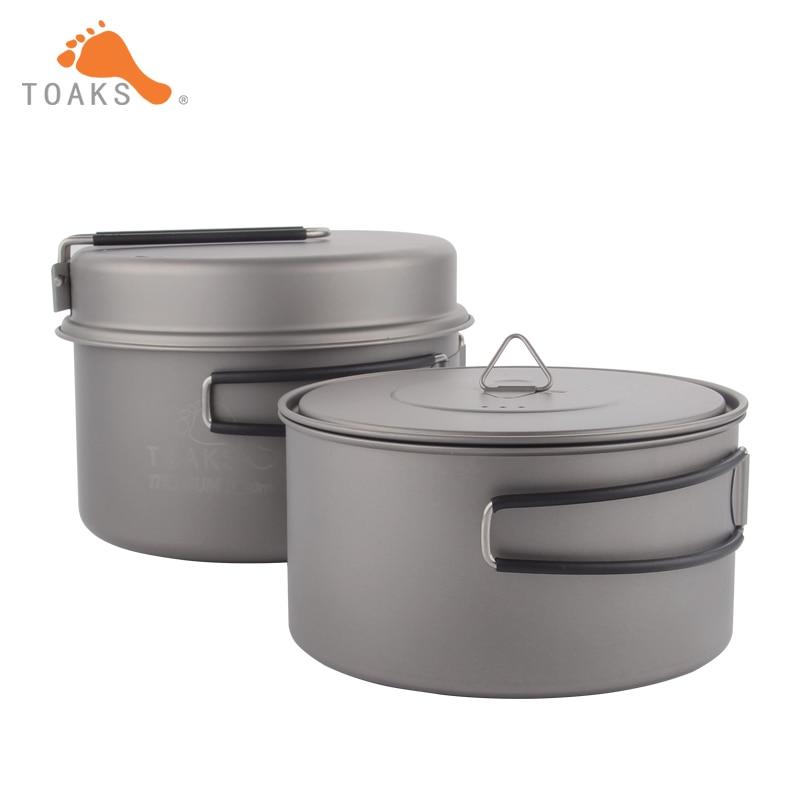 TOAKS Cookware Set Portable Titanium Cookware Three piece Outdoor Camping Hiking Pots 1300ml 900ml Frying Pan