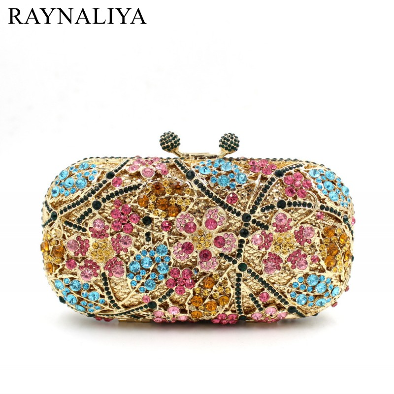 New Evening Bags Rhinestones Clutch Purse Handbags Crystal Wedding Bag Day Cluthes Mini Women Floral Minaudiere Smyzh-e0292 luxury crystal clutch handbag women evening bag wedding party purses banquet