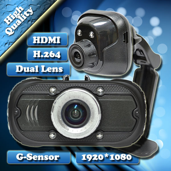 2014 As Fashionable Design TOP Quality Dual Lens HDR Full HD1920*1080 30FPS Car Recorder DVR Black Box Video Novatek 96650 H.264