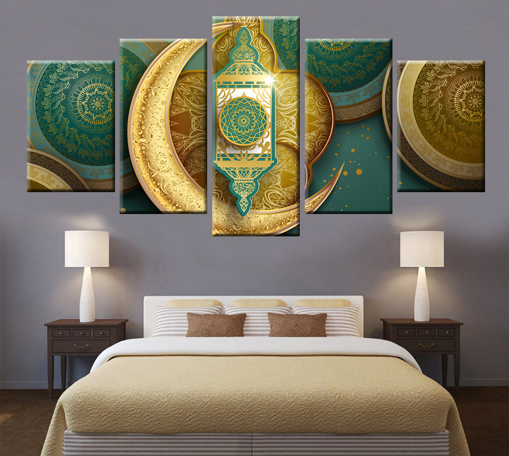 HD Print Modular Religious Symbols Canvas Painting Poster 5 Panel Wall Art for Decorative Mural in Painting Calligraphy from Home Garden