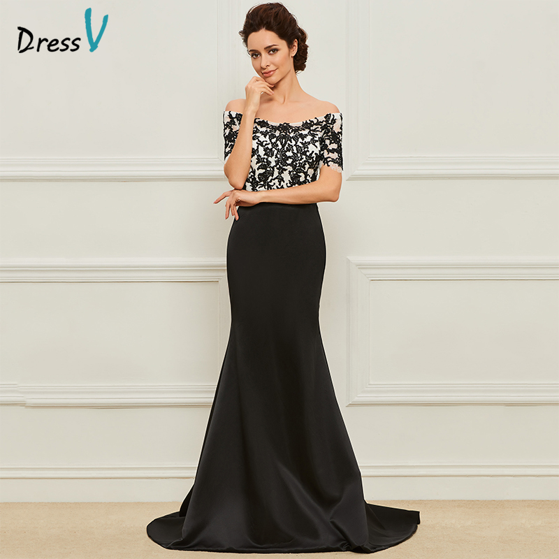 Dressv Long Black Mother Of The Bride Dress Short Sleeves