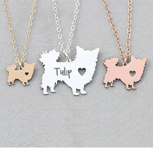 купить 2018 New Women Jewelry Longhair Dog Charm Chihuahua Dog Necklace Personalized Names Or Letters Dropship Accepted YP6366 дешево