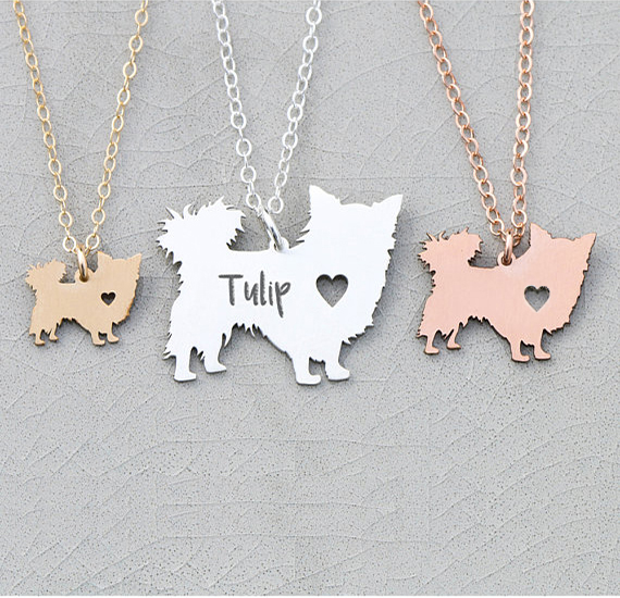 2018 New Women Jewelry Longhair Dog Charm Chihuahua Dog Necklace Personalized Names Or Letters Dropship Accepted YP6366