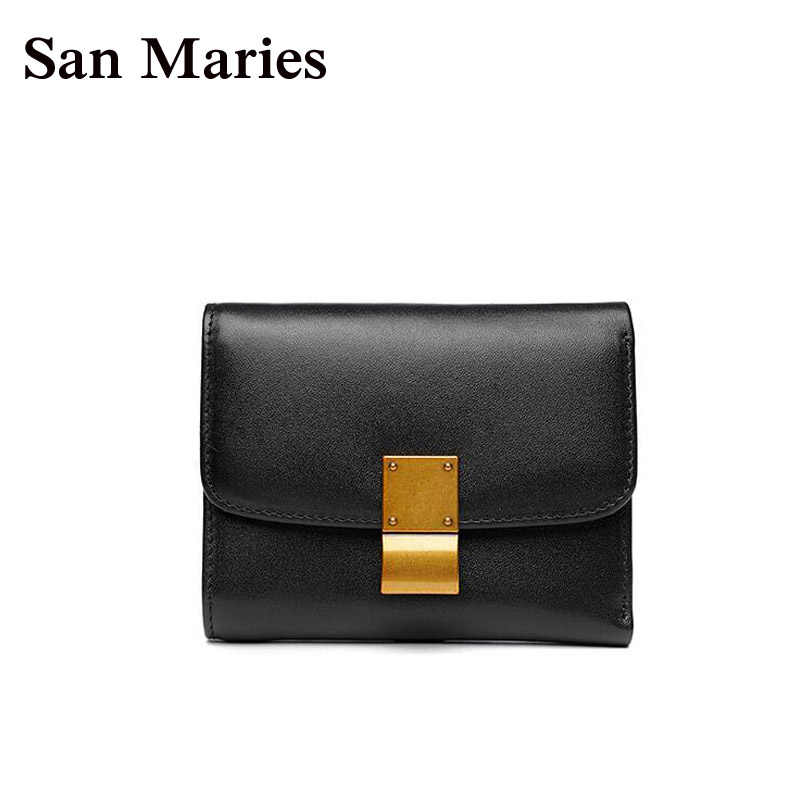 San Maries Fashion Small Female Purse Short Girls Lady Snap Fastener Zipper Short Clutch Wallet Solid Luxury Brand Wallets