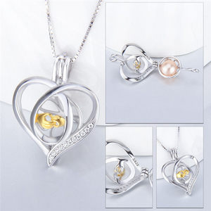 Image 5 - CLUCI 3pcs Silver 925 Pendant Locket for Women Necklace Jewelry 925 Sterling Silver Heart Zircon Pearl Cage Pendant SC362SB